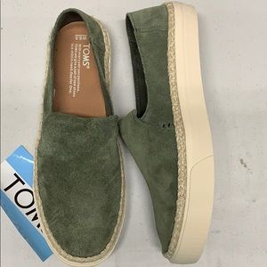 Toms Sunset Suede Rope Pine Size 8.5